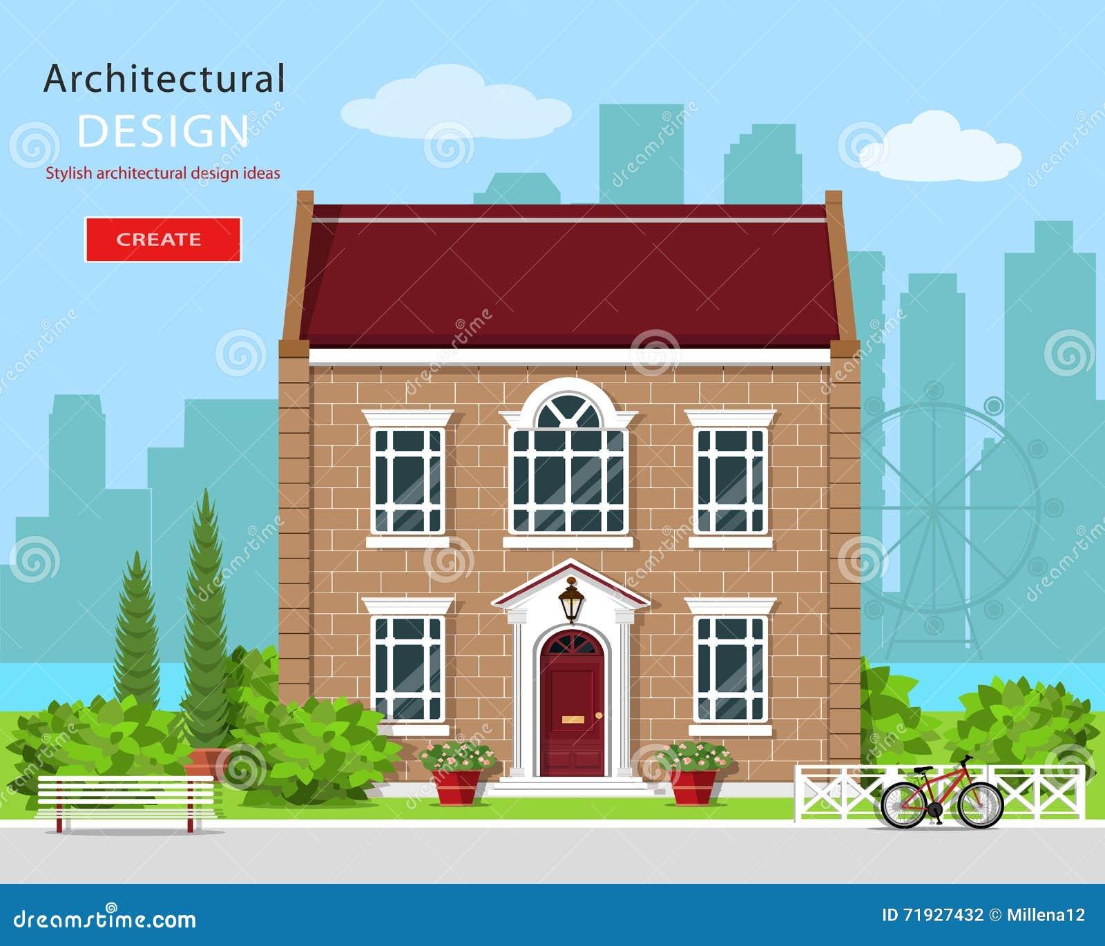 Современный графический архитектурный дизайн Милый дом кирпича Красочный комплект: дом, стенд, двор, велосипед, цветки и деревья