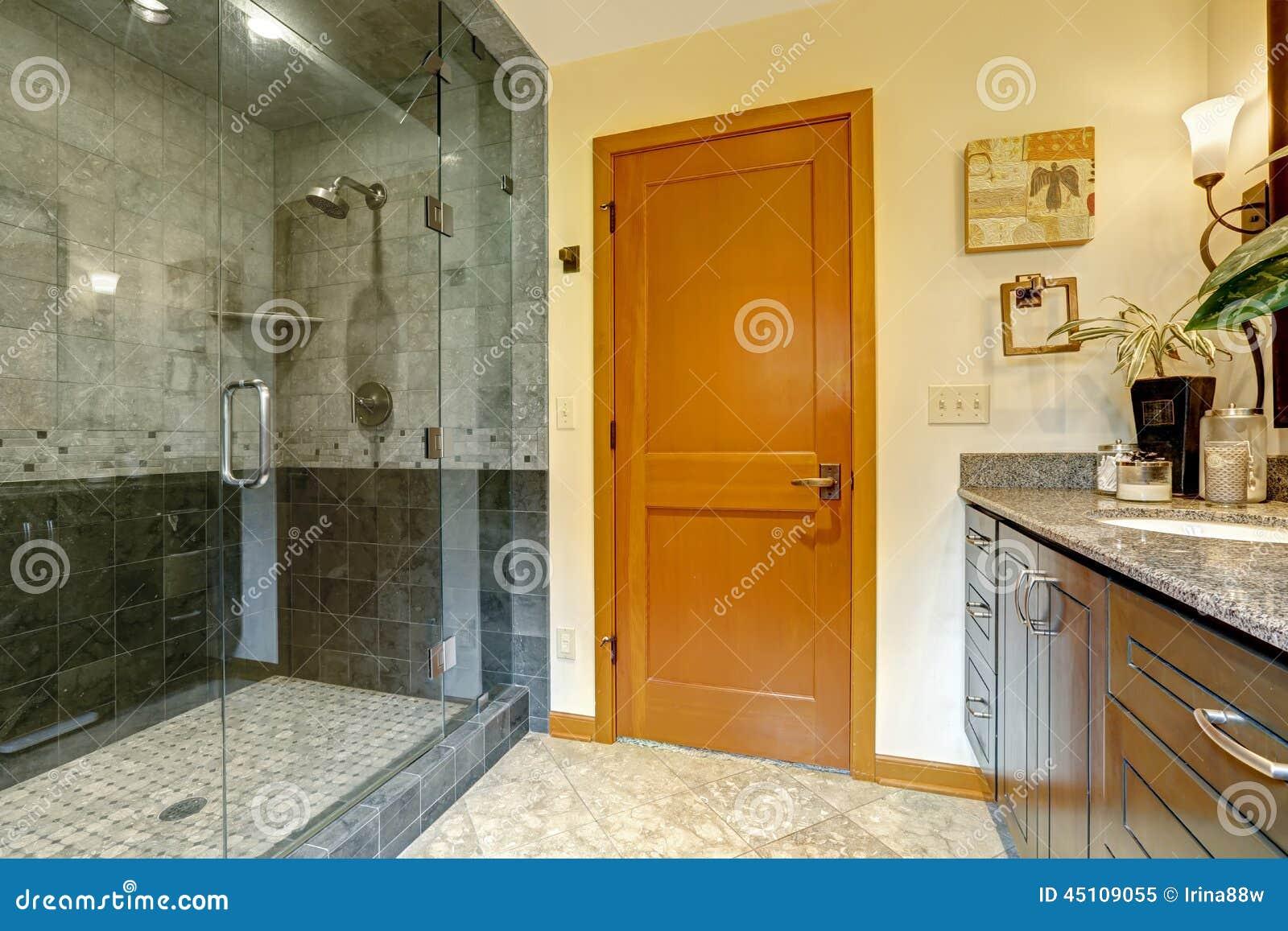 Современный интерьер ванной комнаты с стеклянным ливнем двери
