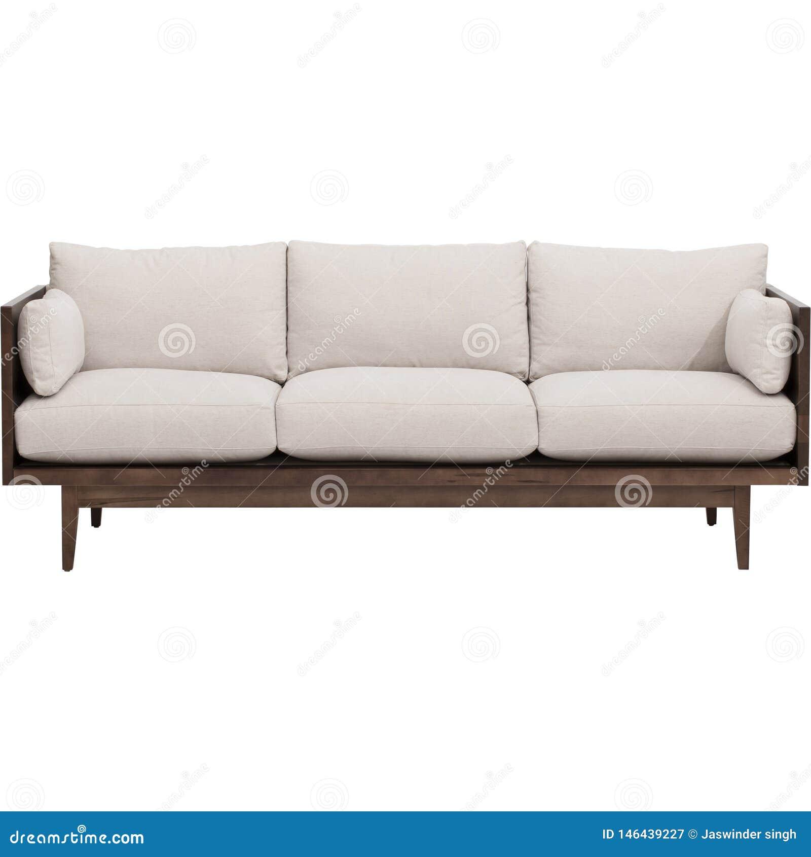Современный интерьер жить-комнаты с белым креслом около пустой бежевой стены