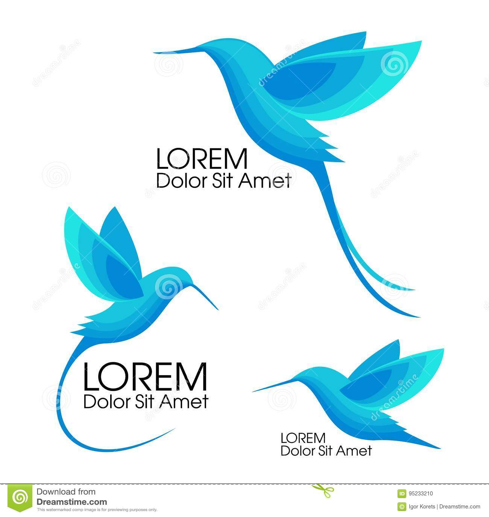 Современный комплект Голубые птицы, Colibri в полете, ультрамодном minimalistic дизайне шаблона для логотипов, эмблем, символов