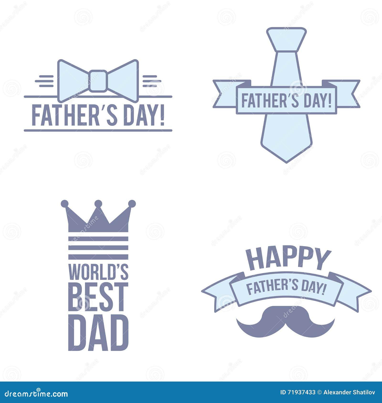 Современный комплект День отца Плоская линия изолированная иллюстрация