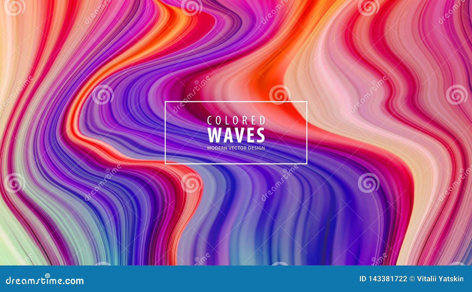 Современный красочный плакат подачи Форма волны жидкостная в голубой предпосылке цвета Конструкция искусства также вектор иллюстр
