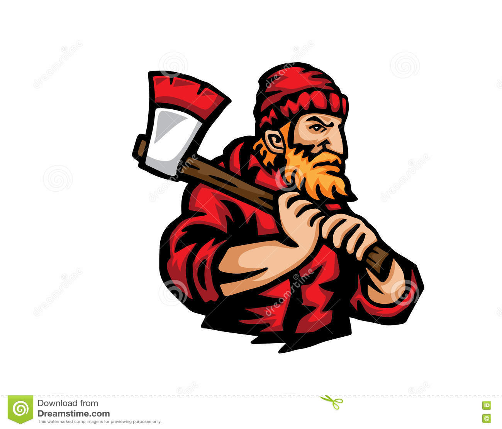 Современный логотип шаржа людей занятия - Lumberjack
