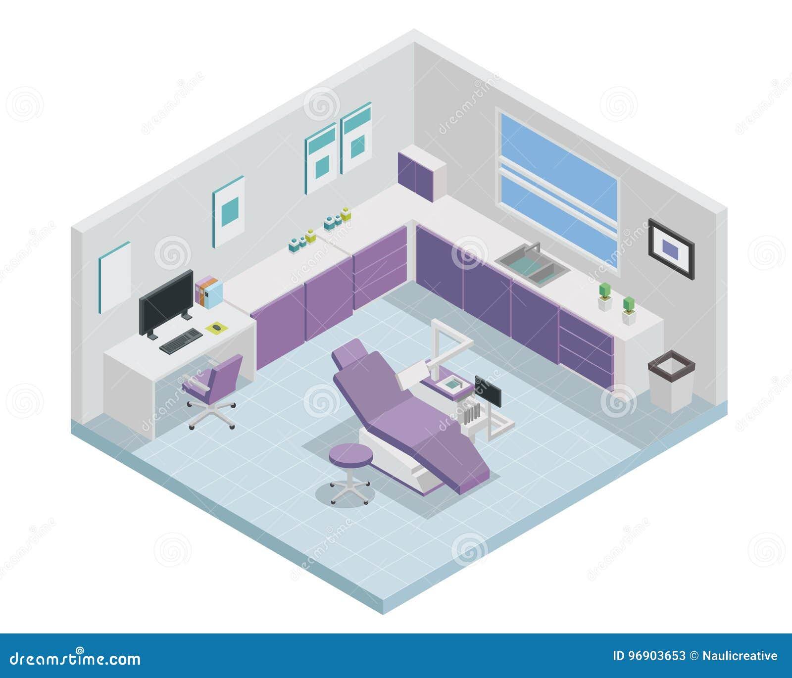 Современный равновеликий дизайн интерьера клиники дантиста