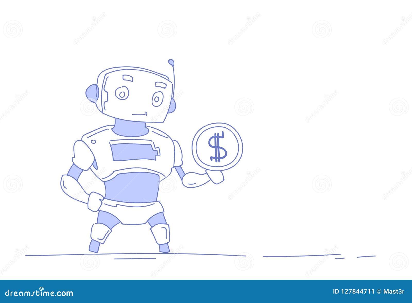 Современный робот держа концепцию искусственного интеллекта роста богатства денег монетки доллара изолировал белую предпосылку