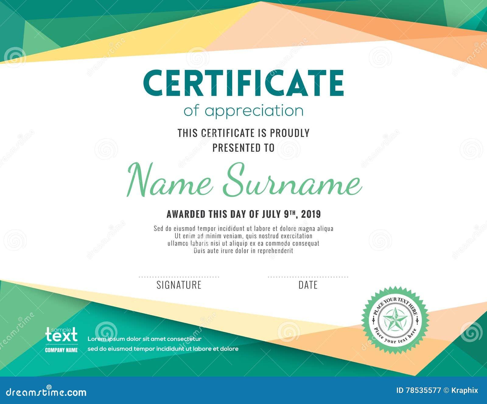 Современный шаблон дизайна предпосылки сертификата