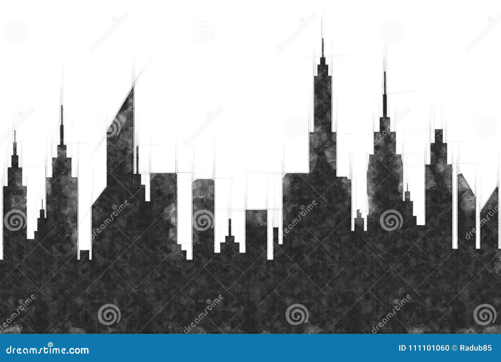 Современный эскиз зданий и небоскреба города