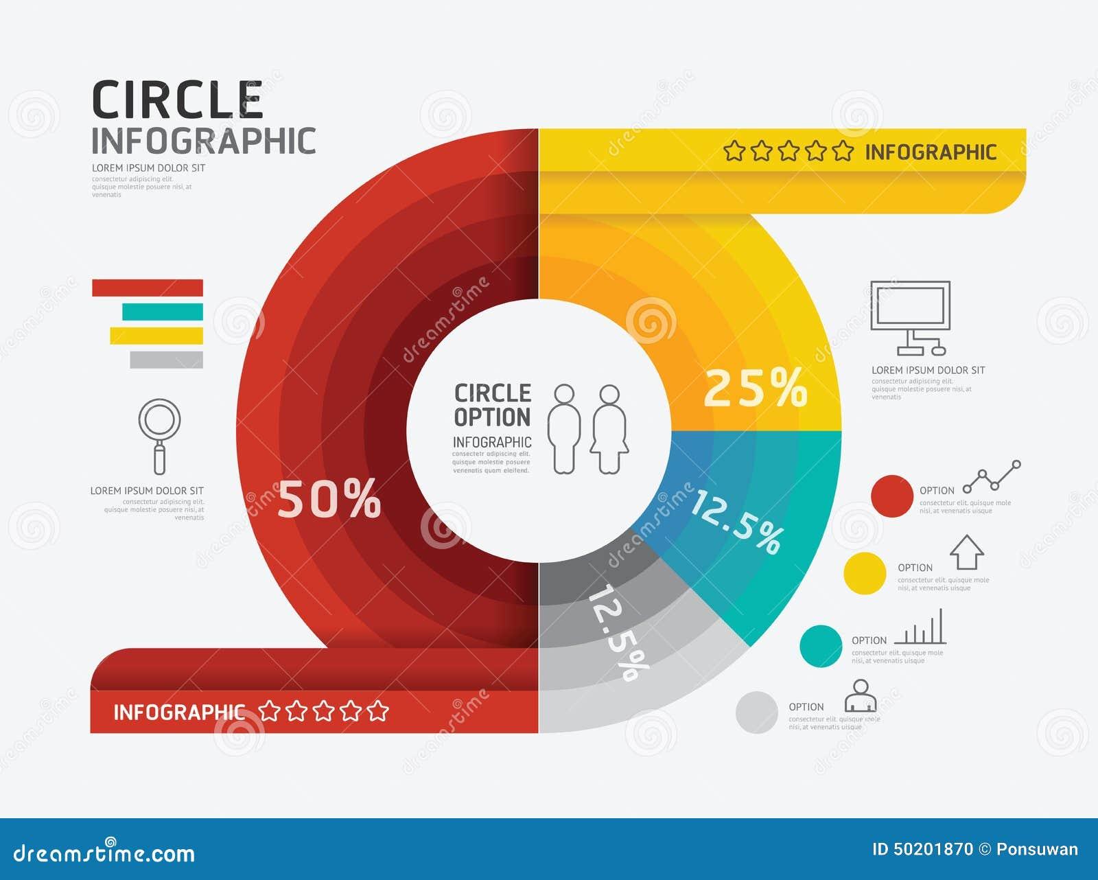 Современный infographic круг знамени геометрический с линией значками