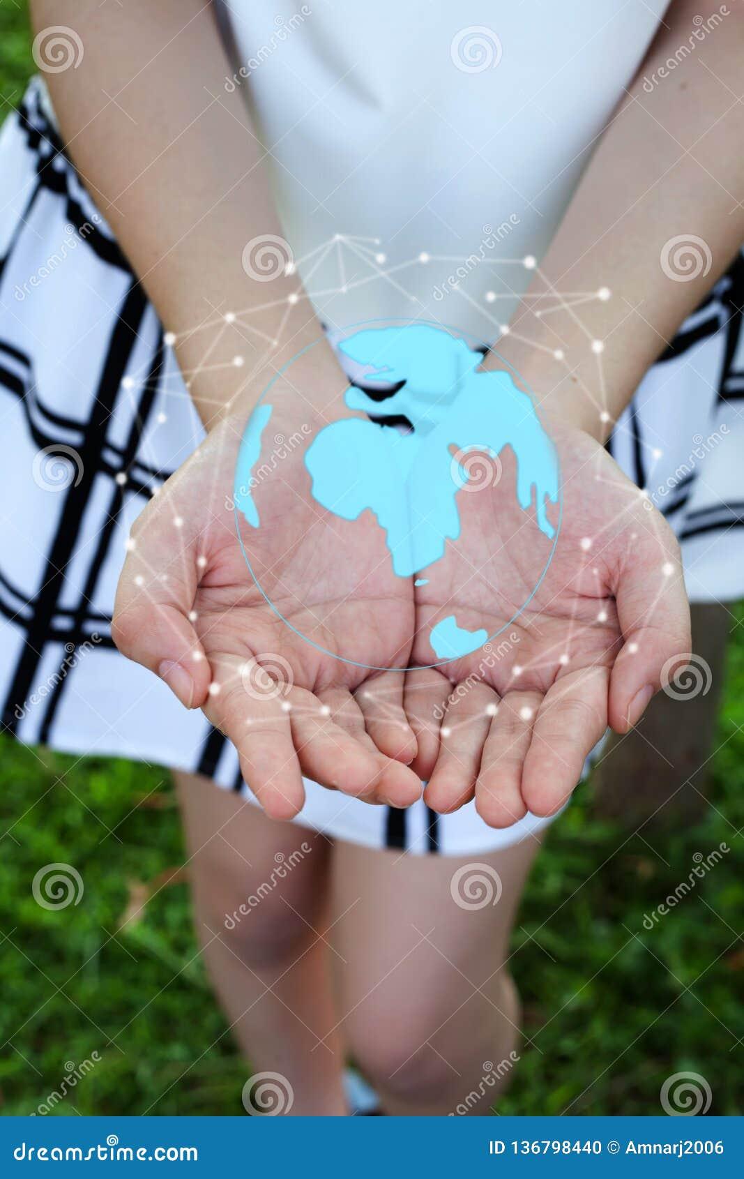 Соединение и обмены данными глобальной вычислительной сети круга удерживания женщины всемирно