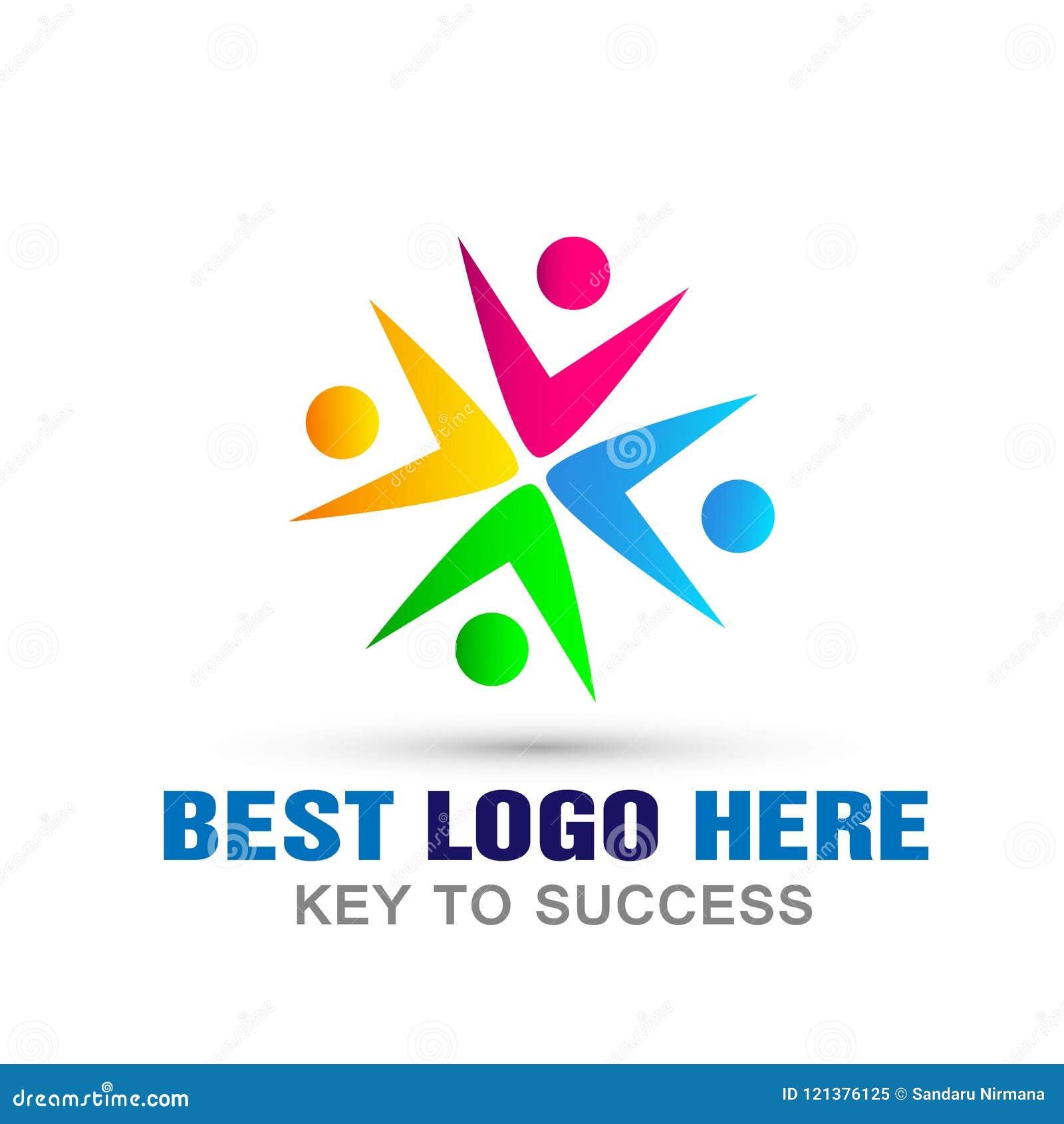 Соединение людей совместно объединяется в команду символ значка логотипа работы для компании на белой предпосылке