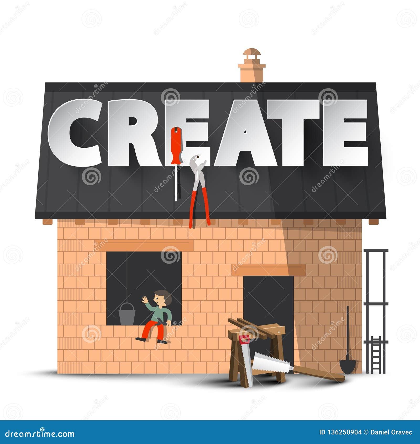 создайтесь Концепция творческих способностей DIY вектора с конструкцией дома