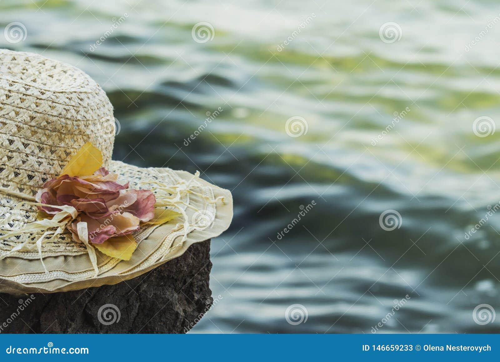 Солнечная шляпа с цветками лежит на утесе перед тонизированным морем,