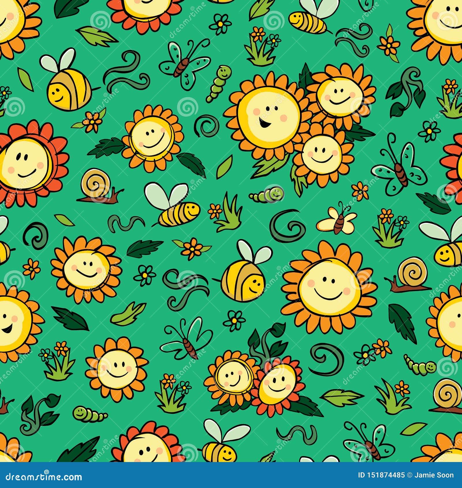 Солнцецветы и пчелы вектора красочные повторяют картину с зеленой предпосылкой Соответствующий для обруча, ткани и обоев подарка