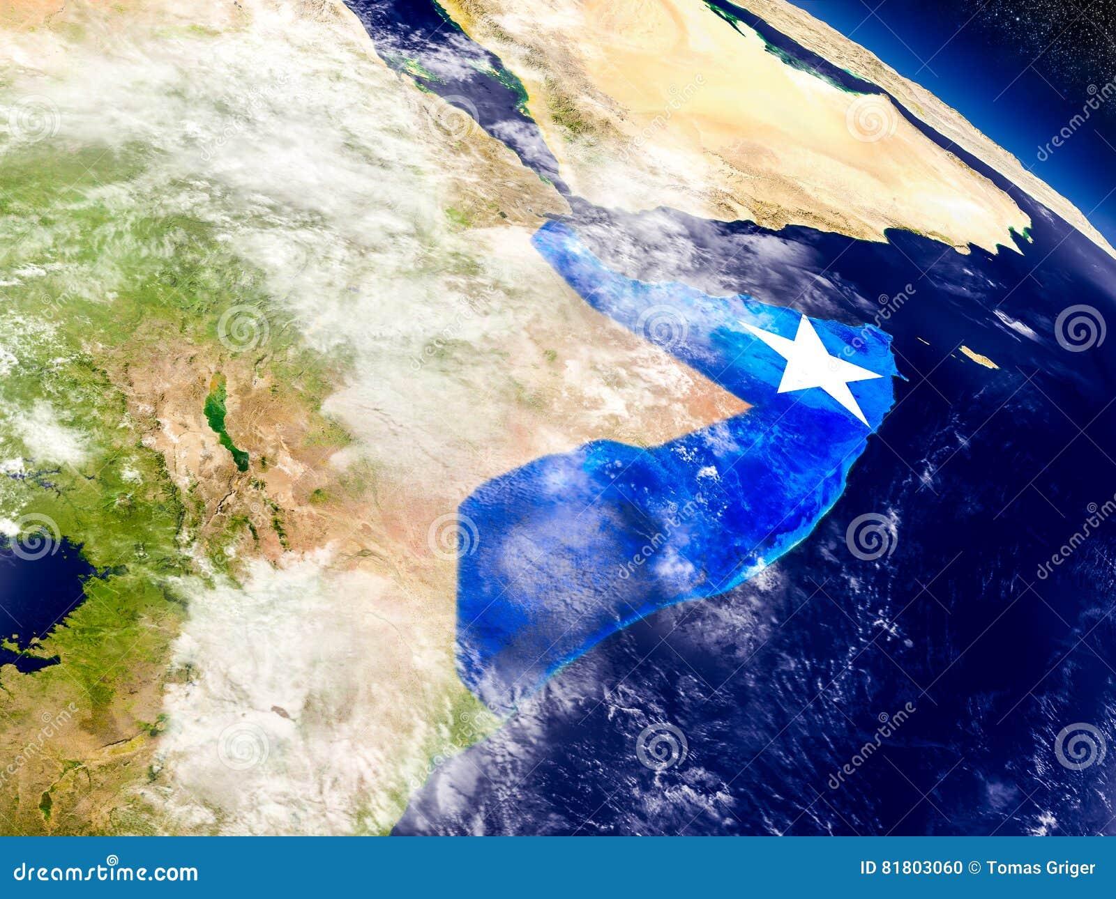 Сомали с врезанным флагом на земле