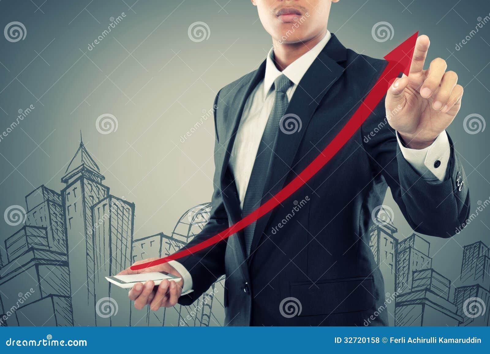 Сопротивление бизнесмена поднимая стрелка на smartphone