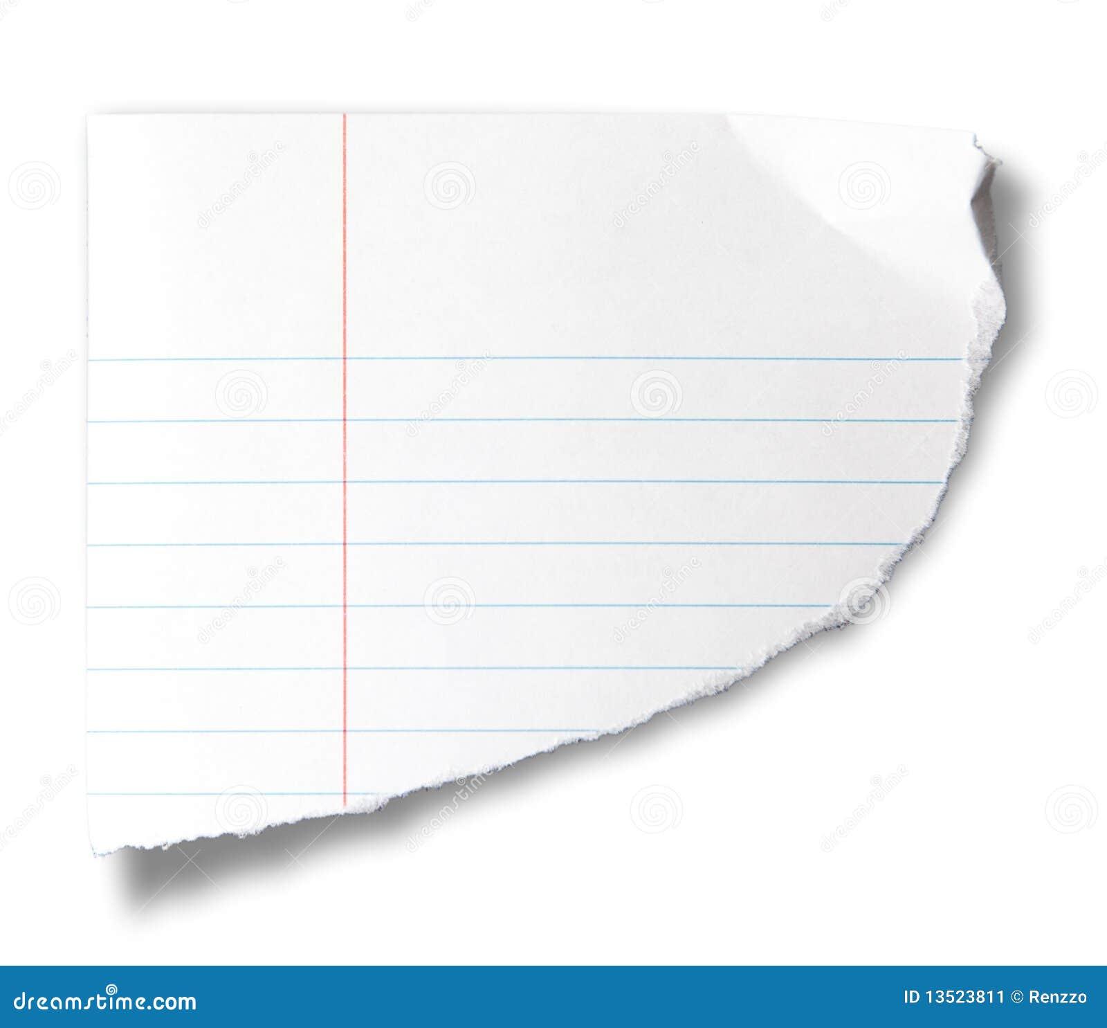сорванная часть тетради бумажная