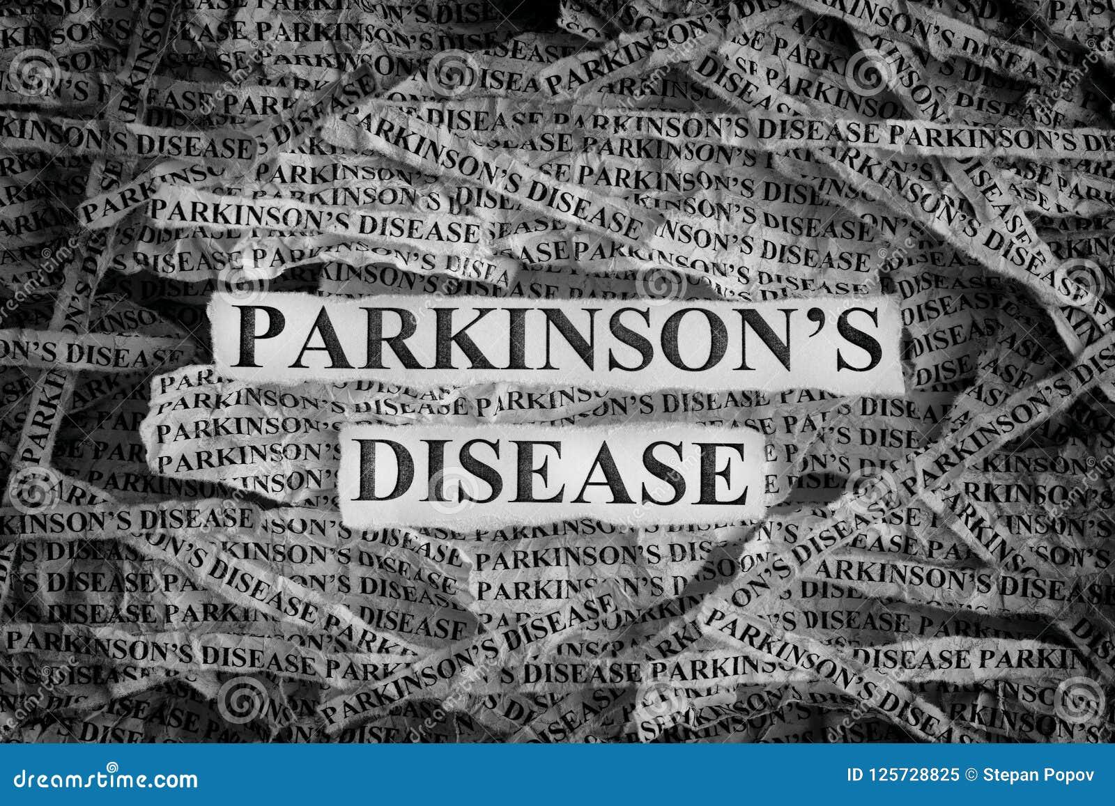 Сорванные куски бумаги с заболеванием ` s Parkinson слов