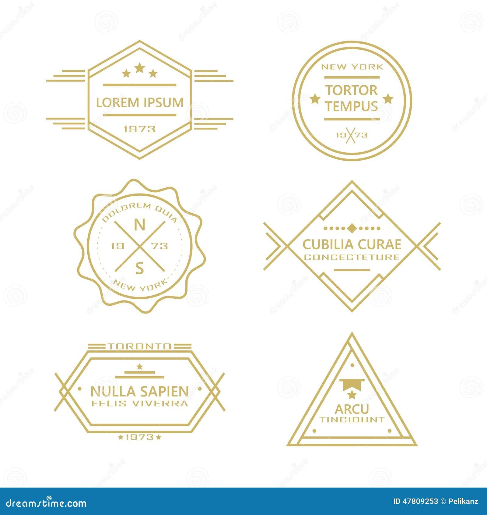 Сортированная линия винтажные ретро значки и собрание ярлыков