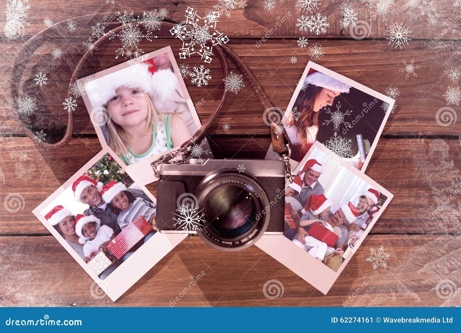 Составное изображение девушки нося шляпу santa дома