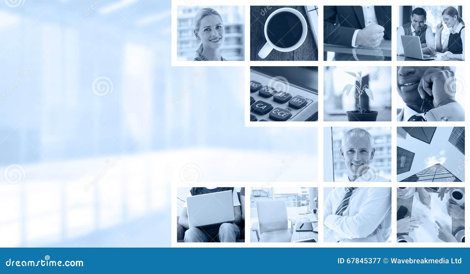 Составное изображение завода на столе в офисе