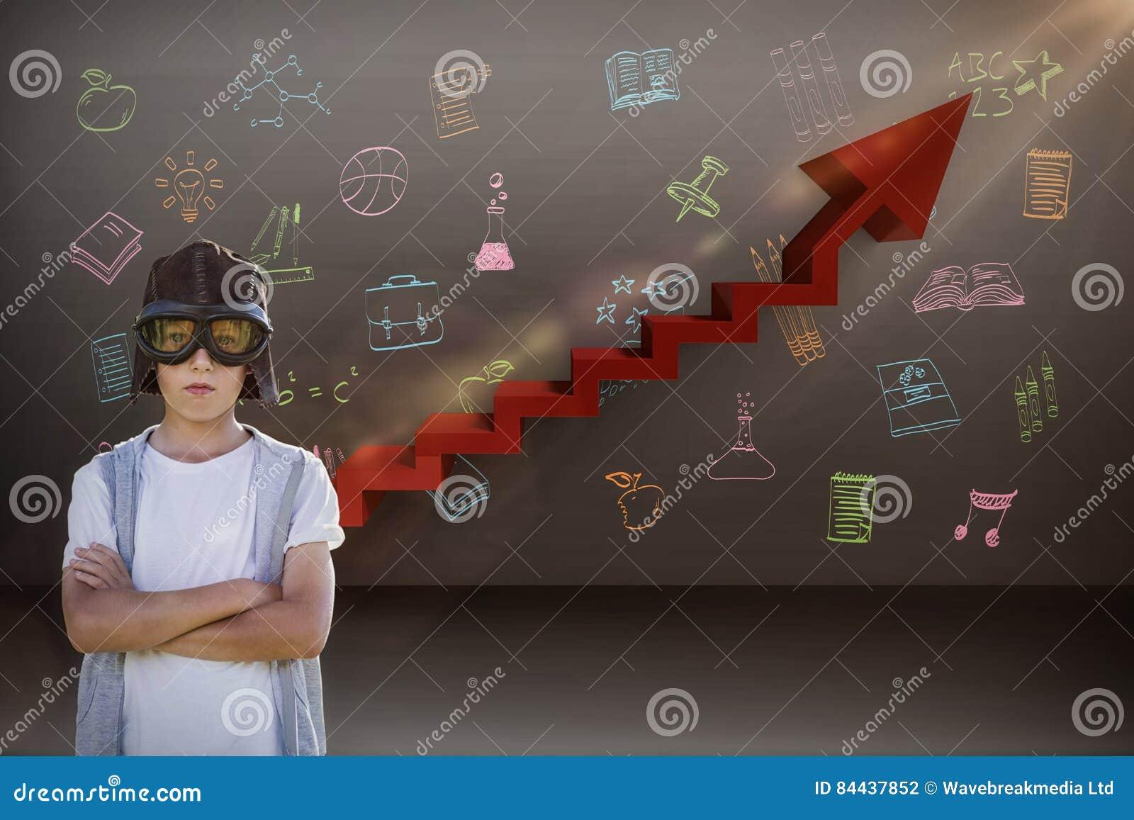 Составное изображение мальчика претендуя быть пилотом авиации