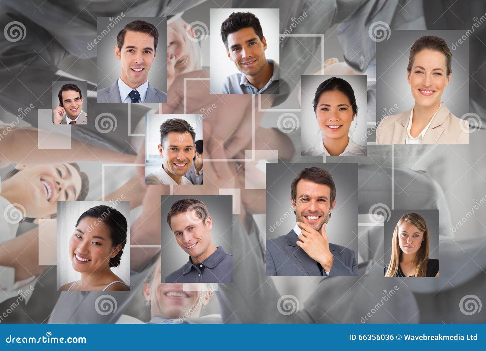 Составное изображение рук команды дела стоящих совместно