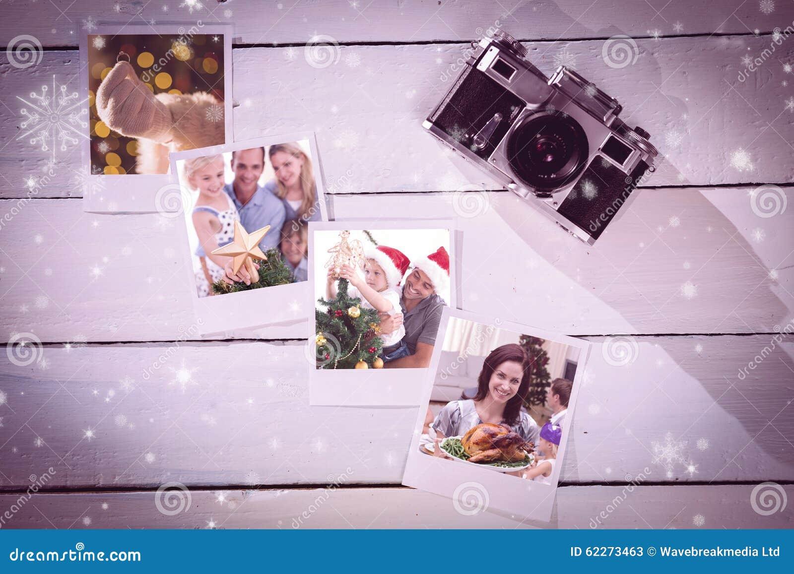 Составное изображение счастливого отца помогая его сыну положить ангела на рождественскую елку