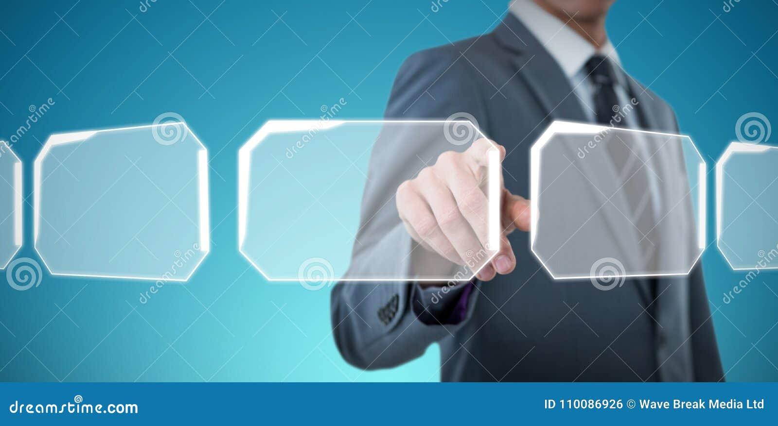 Составное изображение midsection элегантный указывать бизнесмена