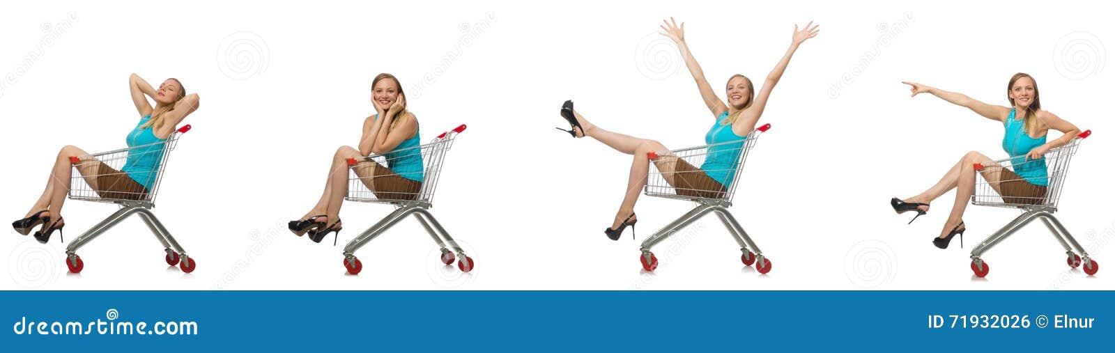 Составное фото женщины с корзиной для товаров