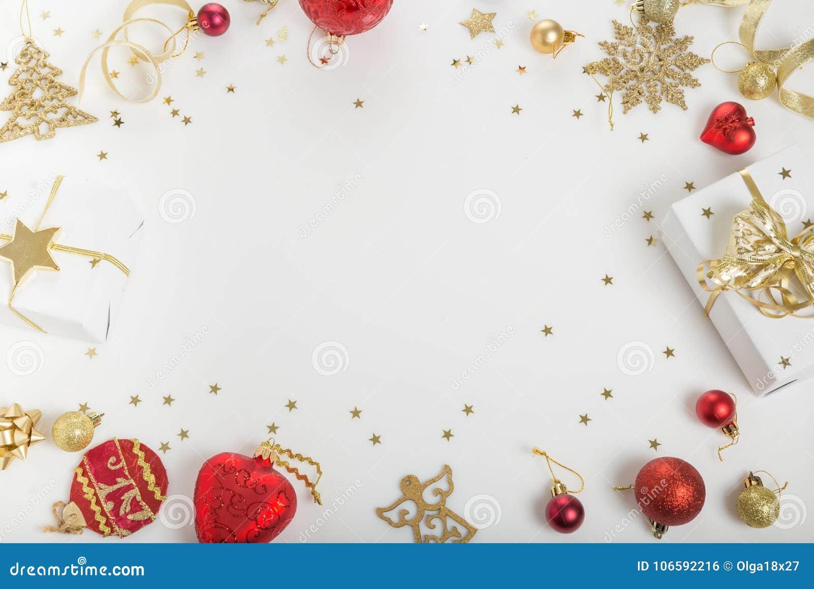 Состав праздника рождества Праздничная творческая золотая картина, шарик праздника оформления золота xmas с лентой, снежинками, р