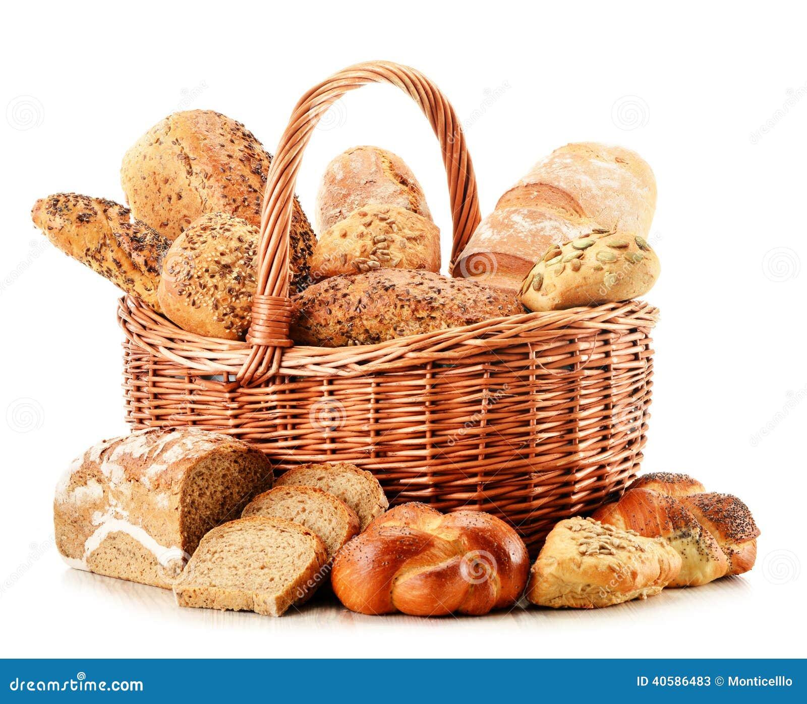 Состав с разнообразием продуктов выпечки на белизне