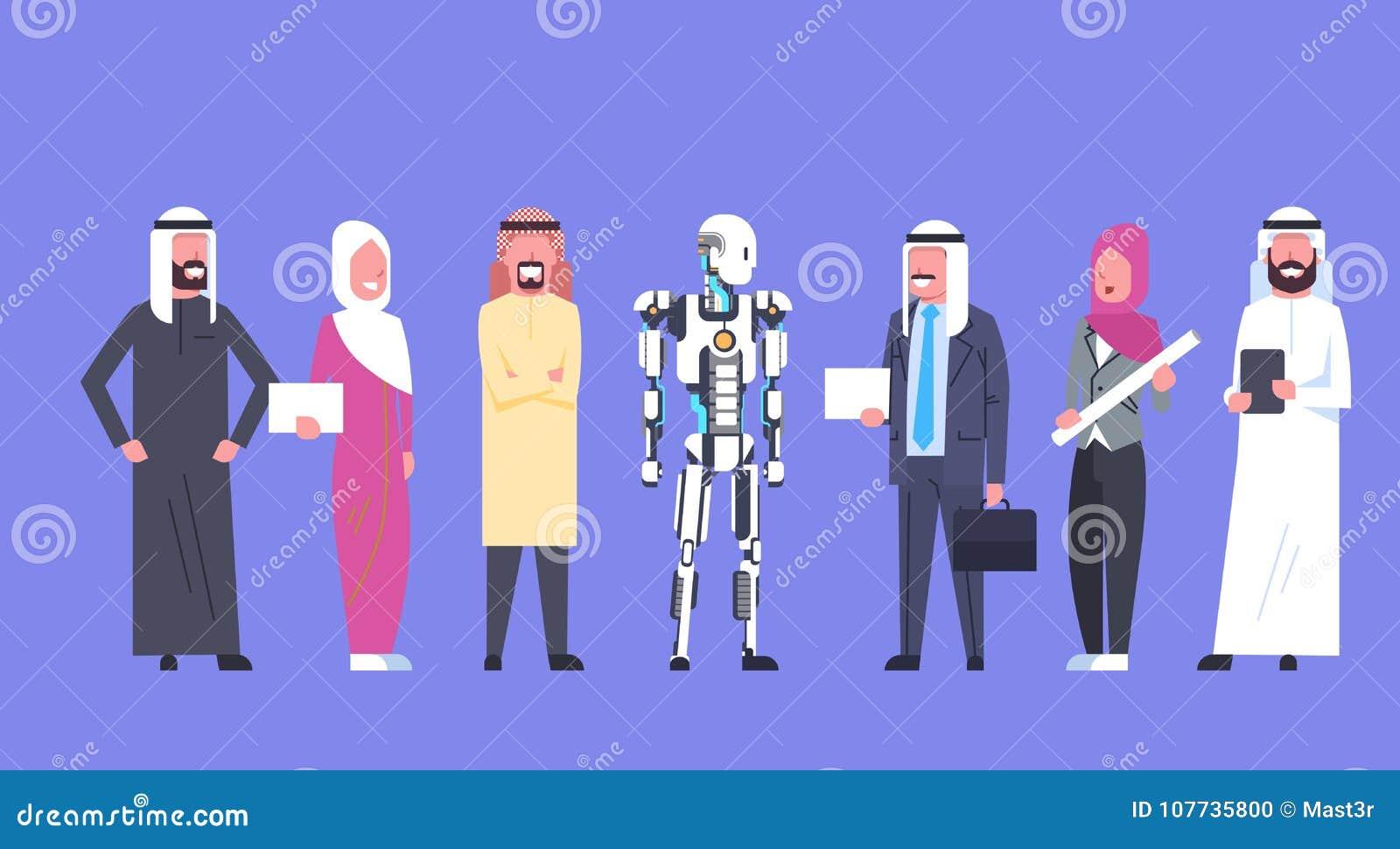 Сотрудничество человека и робота, арабские бизнесмены группы с современное робототехническим, концепции искусственного интеллекта