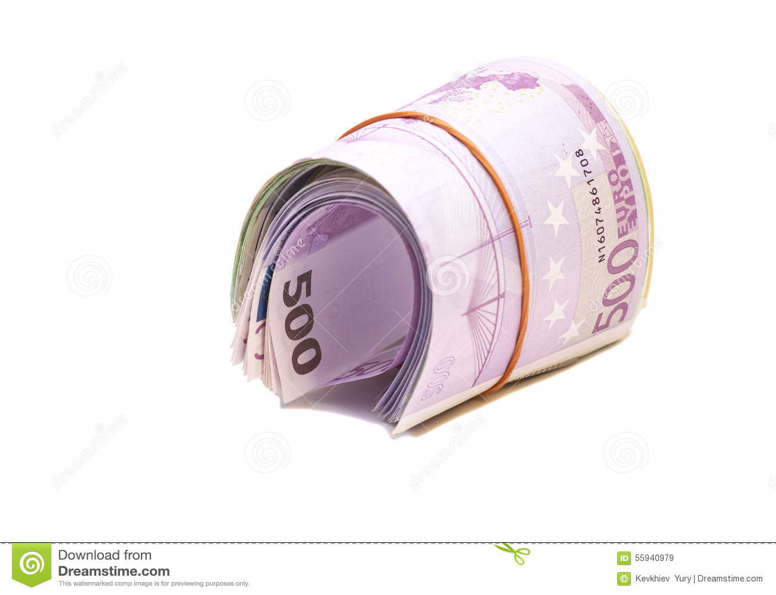 5 сотых банкнот евро под круглой резинкой