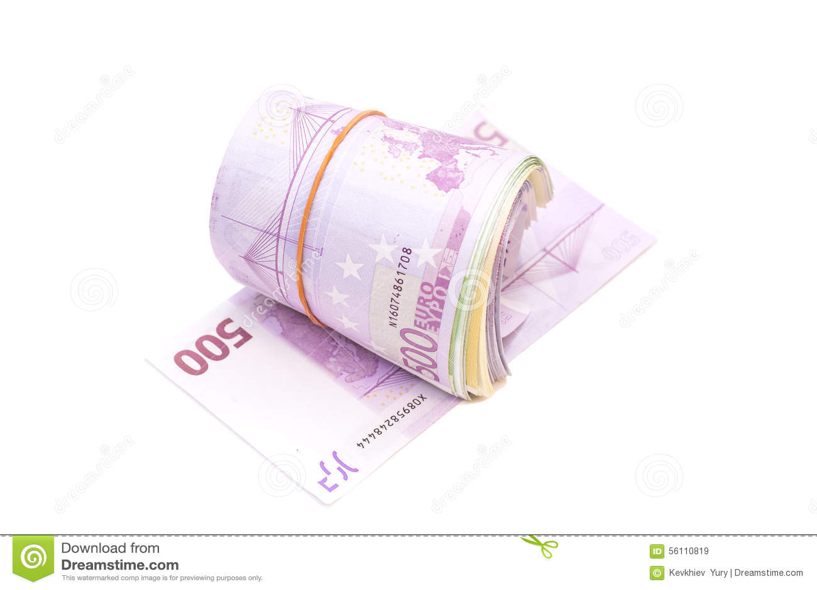 5 сотых банкнот под круглой резинкой