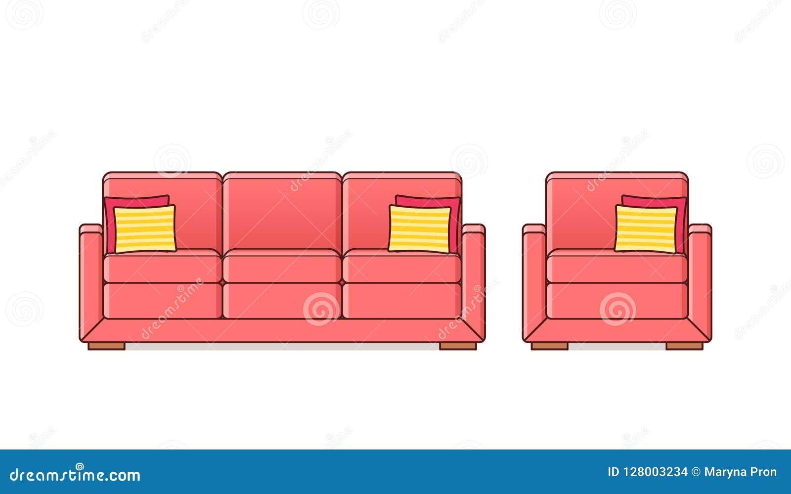 Софа, кресло, значок кресла Иллюстрация плана вектора