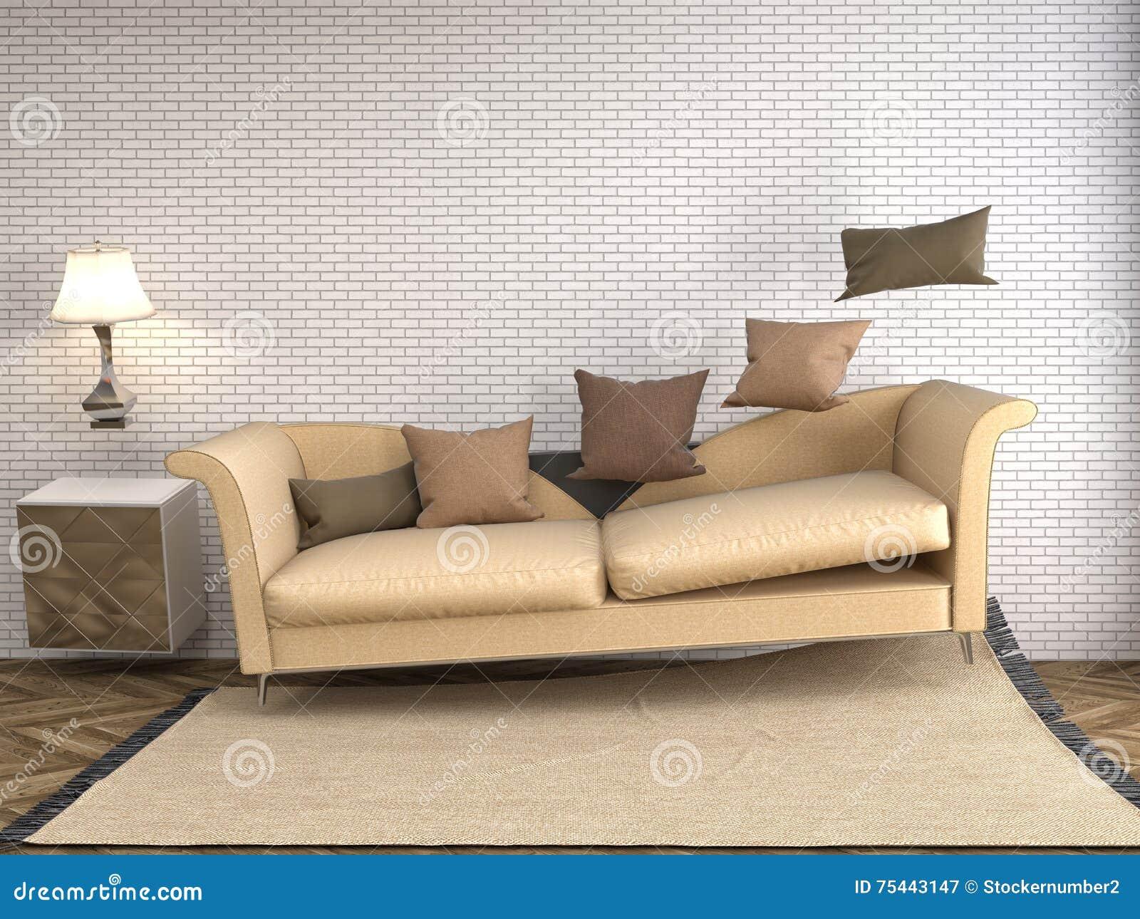 Софа невесомости завиша в живущей комнате иллюстрация 3d