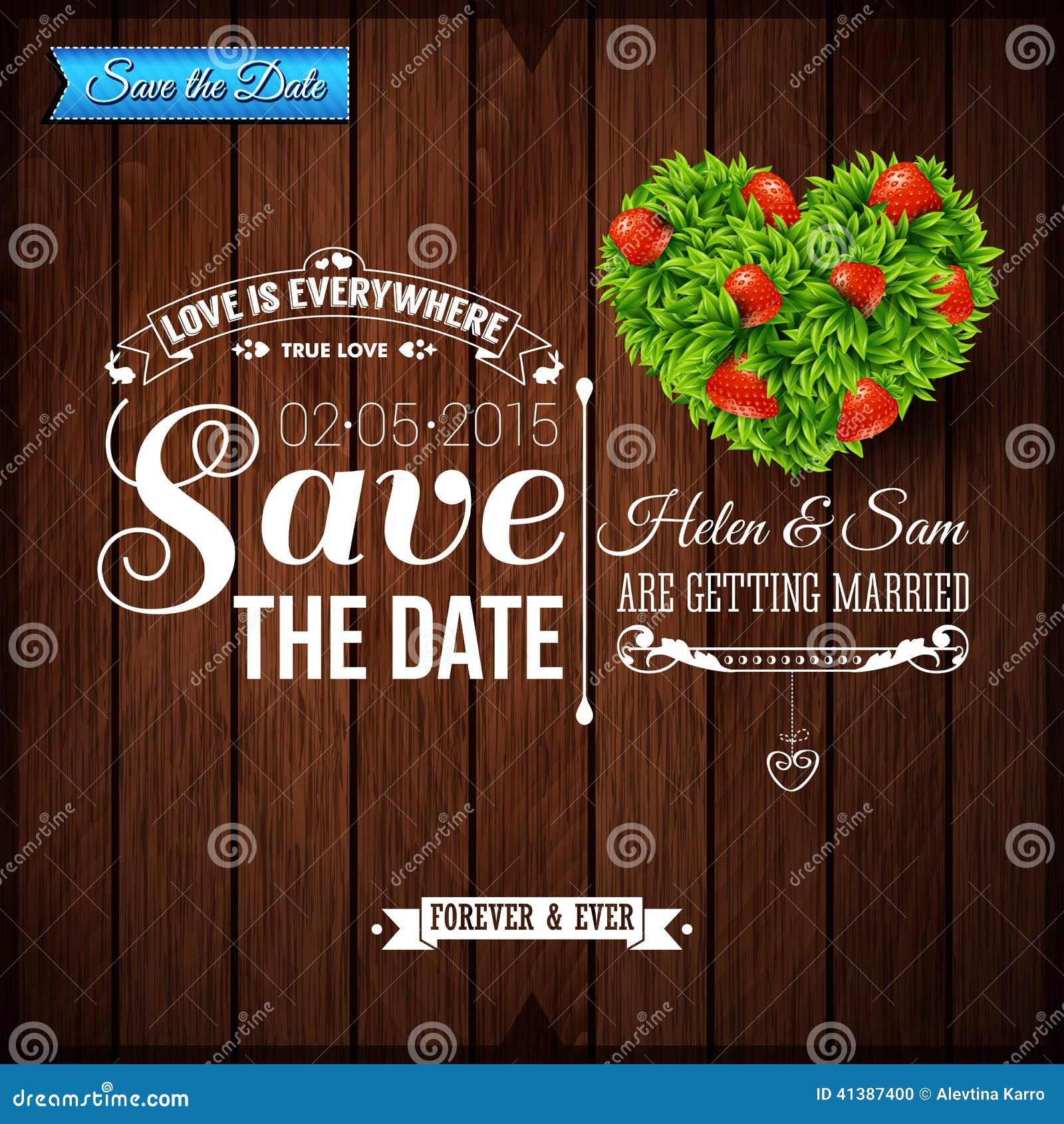 Сохраньте дату на личный праздник Приглашение свадьбы на деревянном