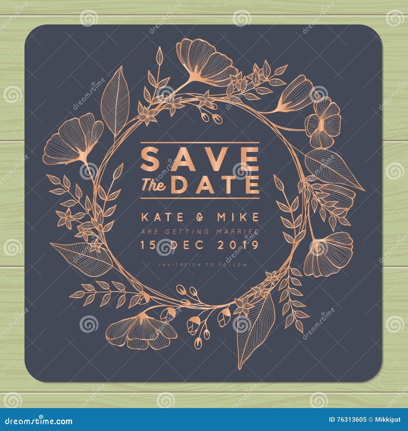 Сохраньте дату, wedding карточка приглашения с шаблоном цветка венка Предпосылка цветка флористическая