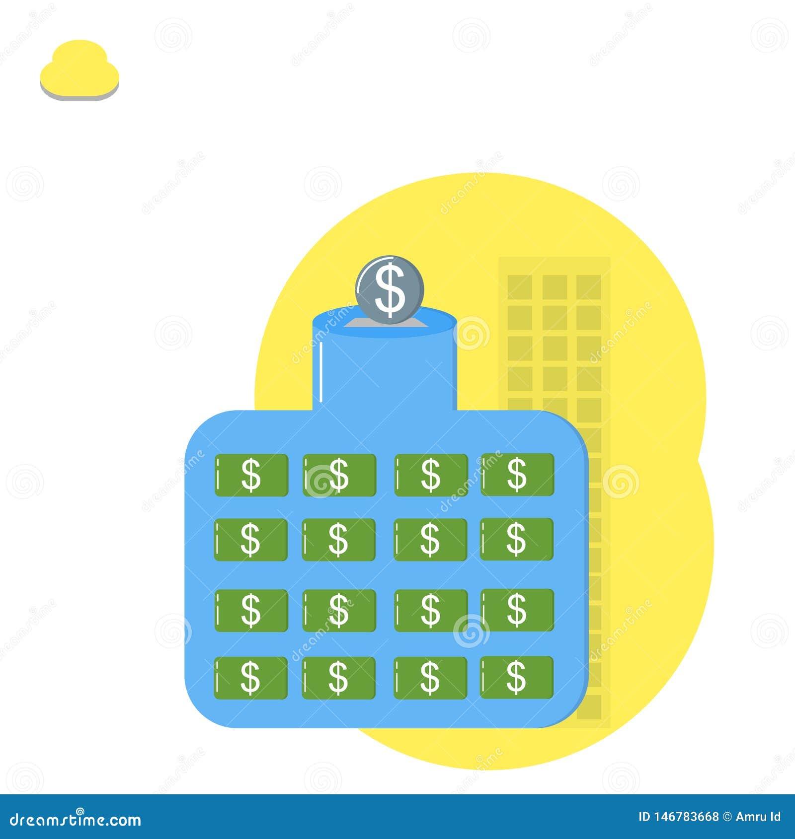 Сохраняя деньги, сохраняя монетка доллара, пробуя собрать деньги Дело, вклад
