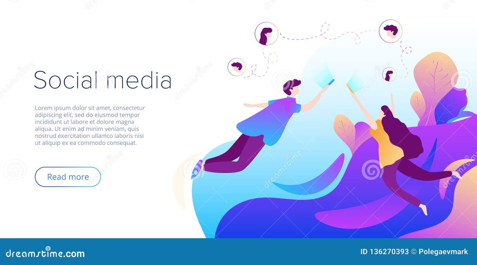 Социальные средства массовой информации беседуют концепция в иллюстрации вектора Подросток используя смартфоны для виртуального р