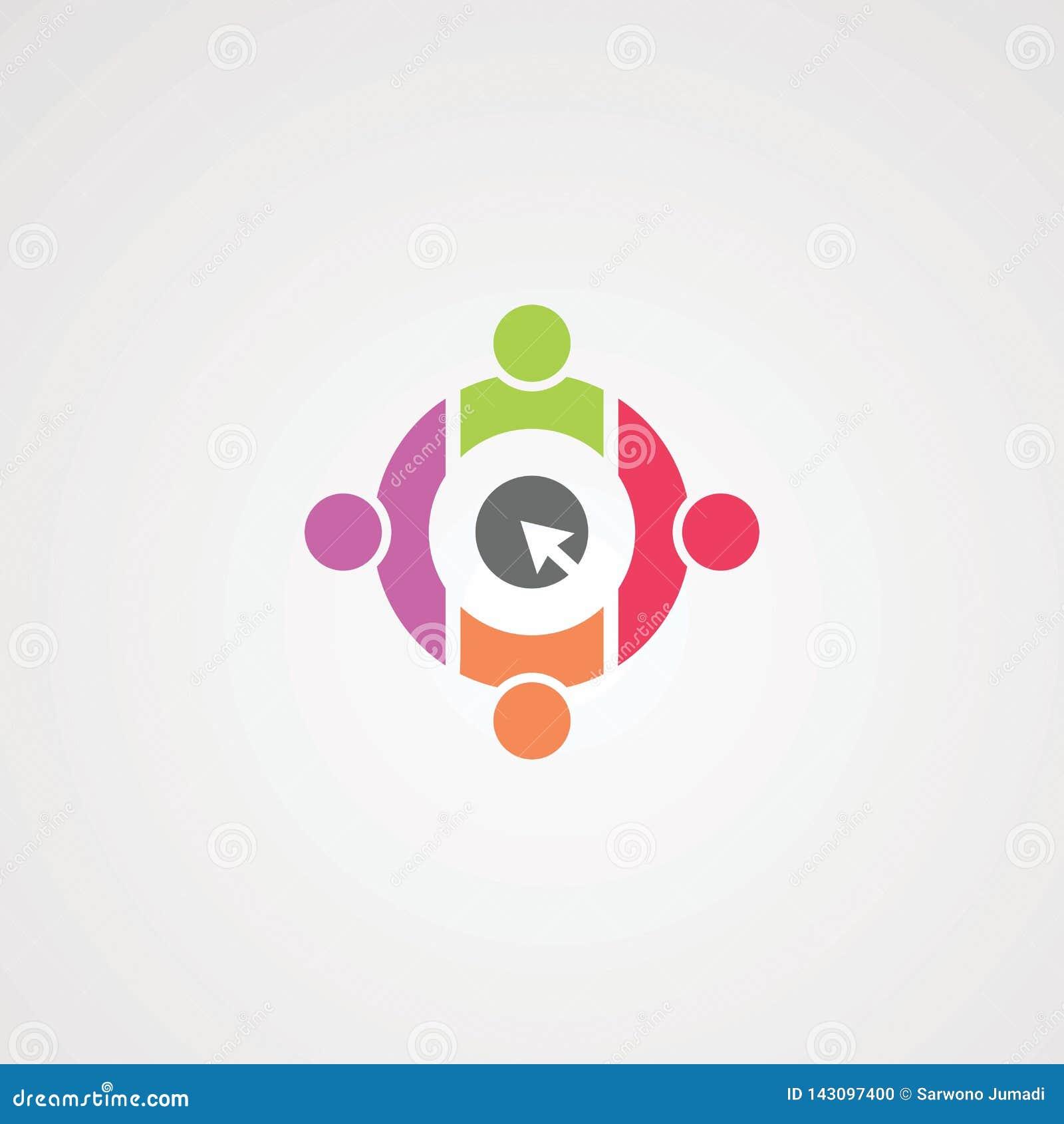 Социальный щелчок с вектором, значком, элементом, и шаблоном логотипа круга fullcolor для компании