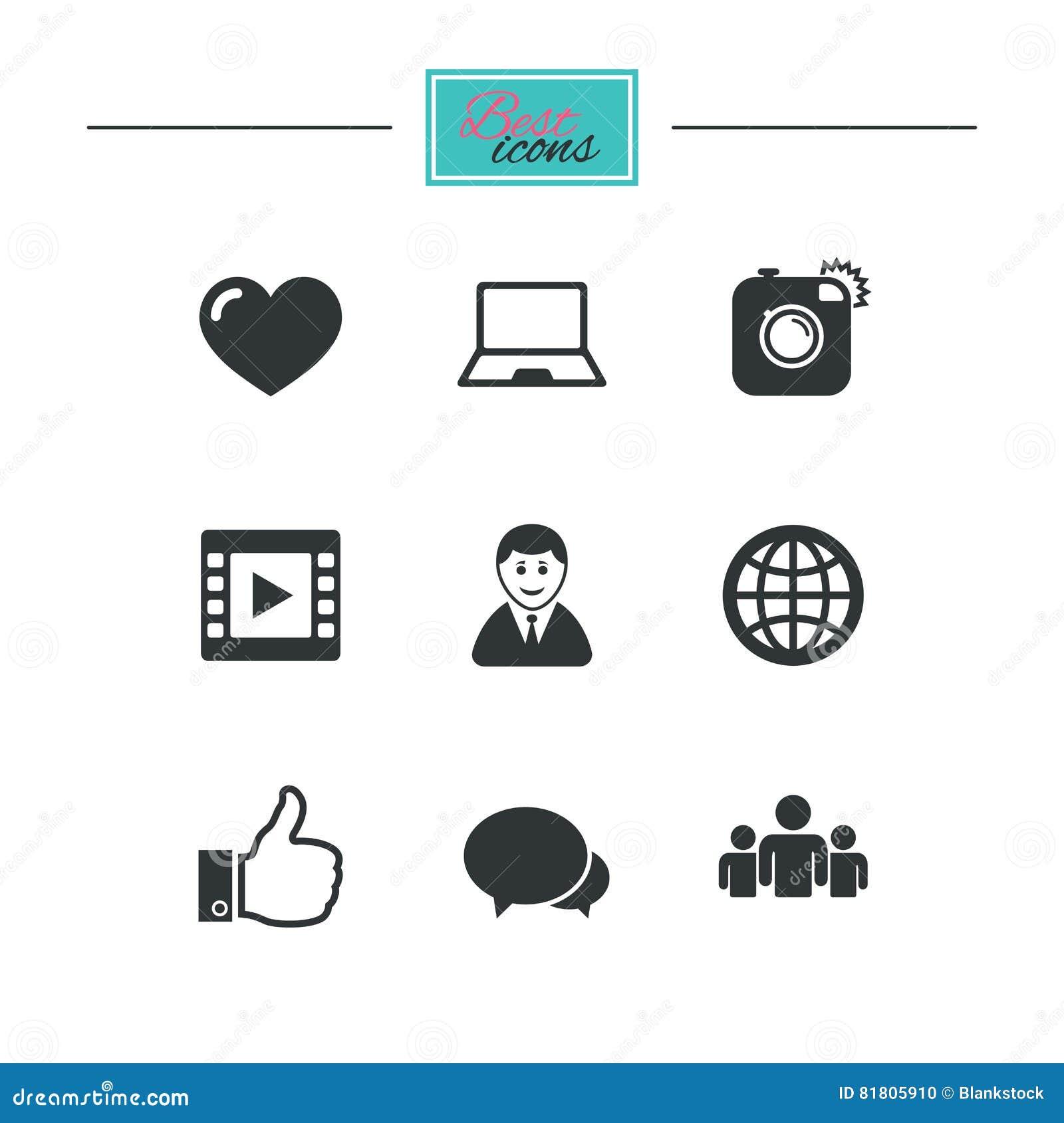Социальные значки средств массовой информации Знаки видео, доли и болтовни