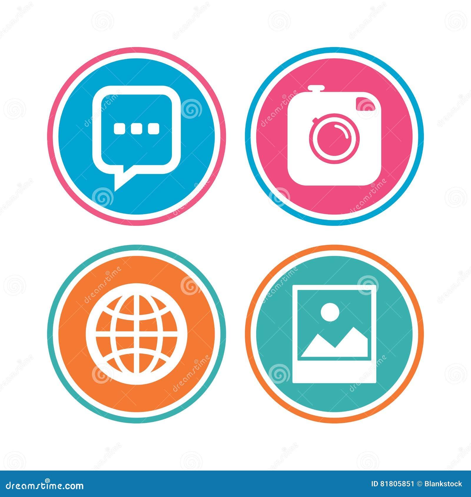 Социальные значки средств массовой информации Пузырь и глобус речи болтовни