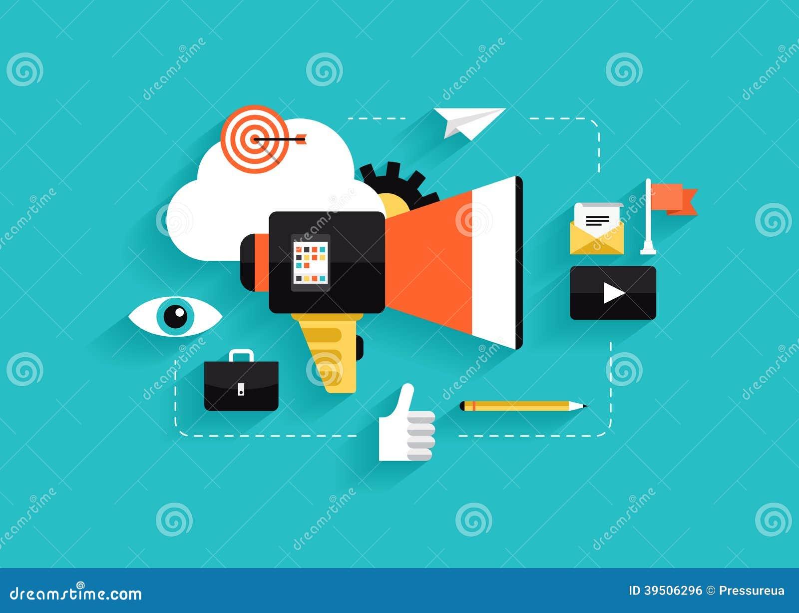 Социальные средства массовой информации выходя плоскую иллюстрацию вышед на рынок на рынок