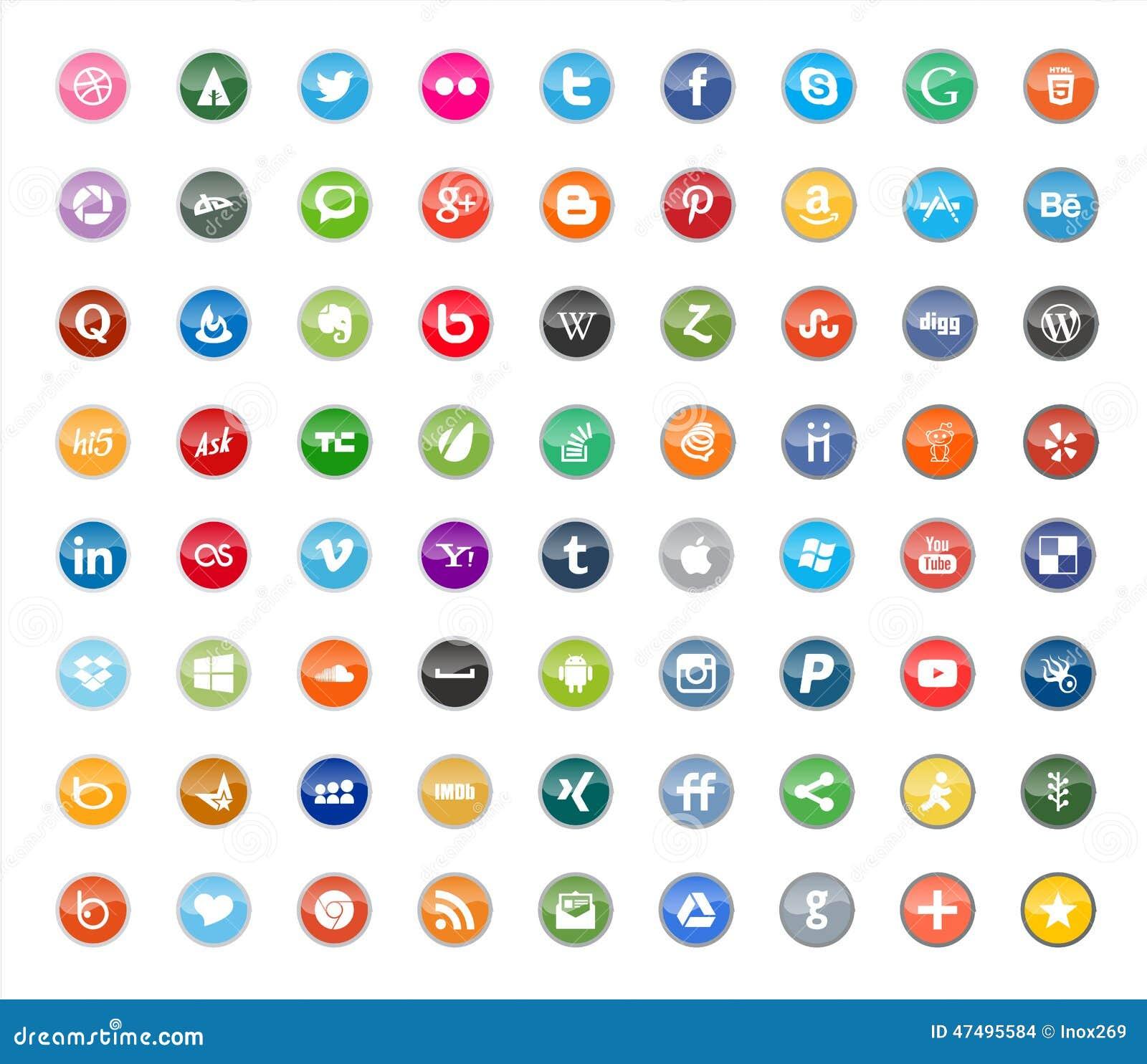 Социальные средства массовой информации и значки цвета сети плоские