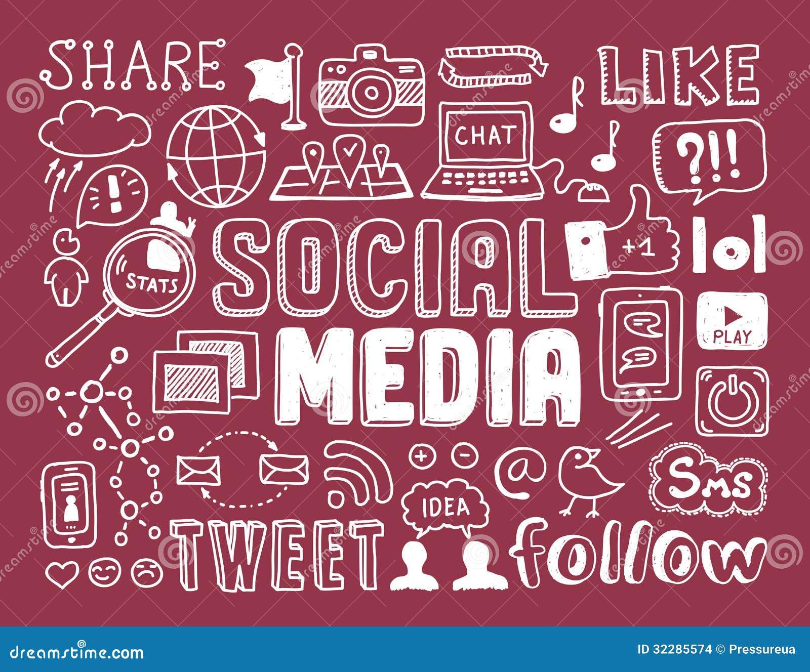 Социальные элементы doodles средств массовой информации
