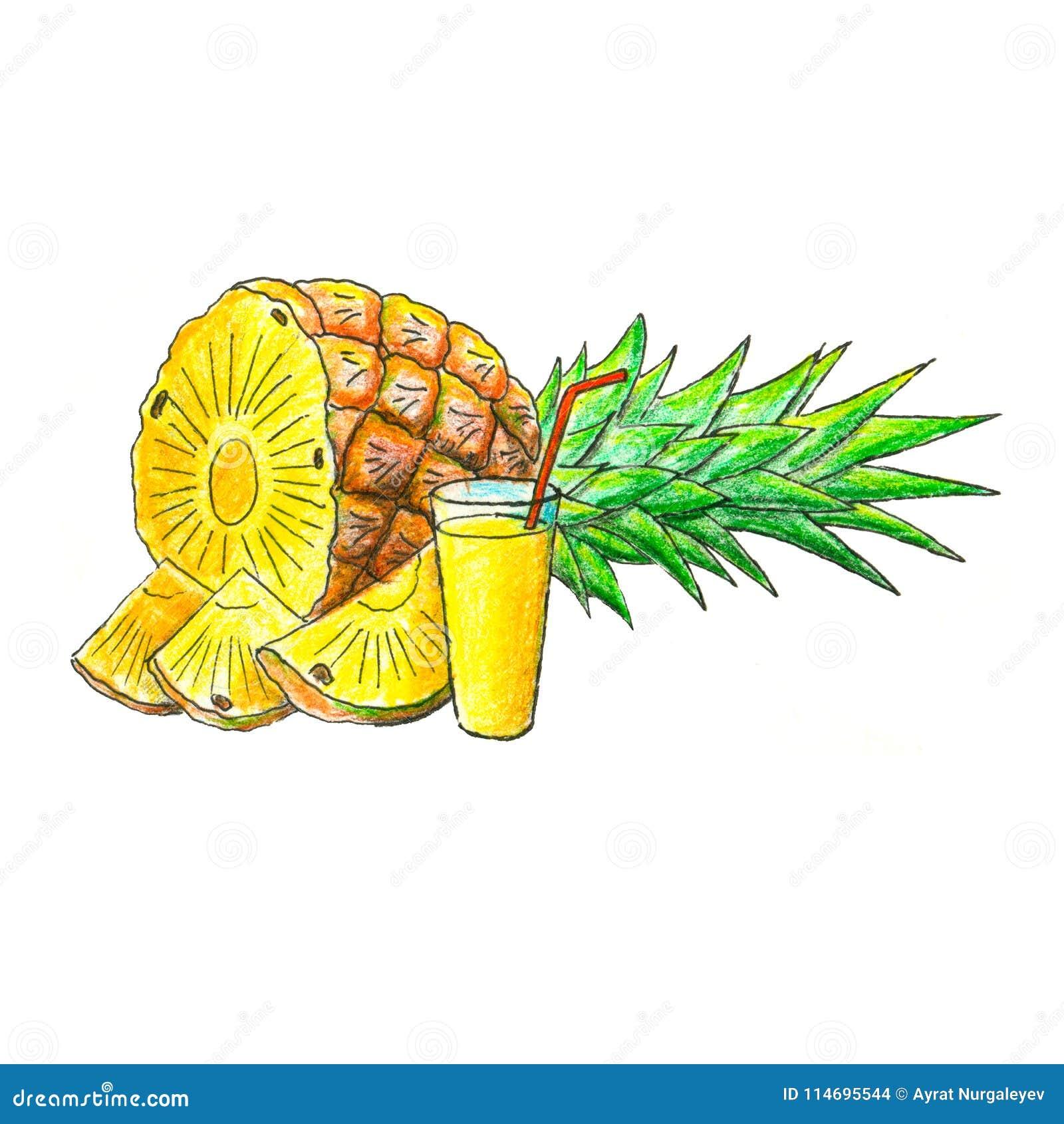 Сочный плодоовощ ананаса с стеклом сока
