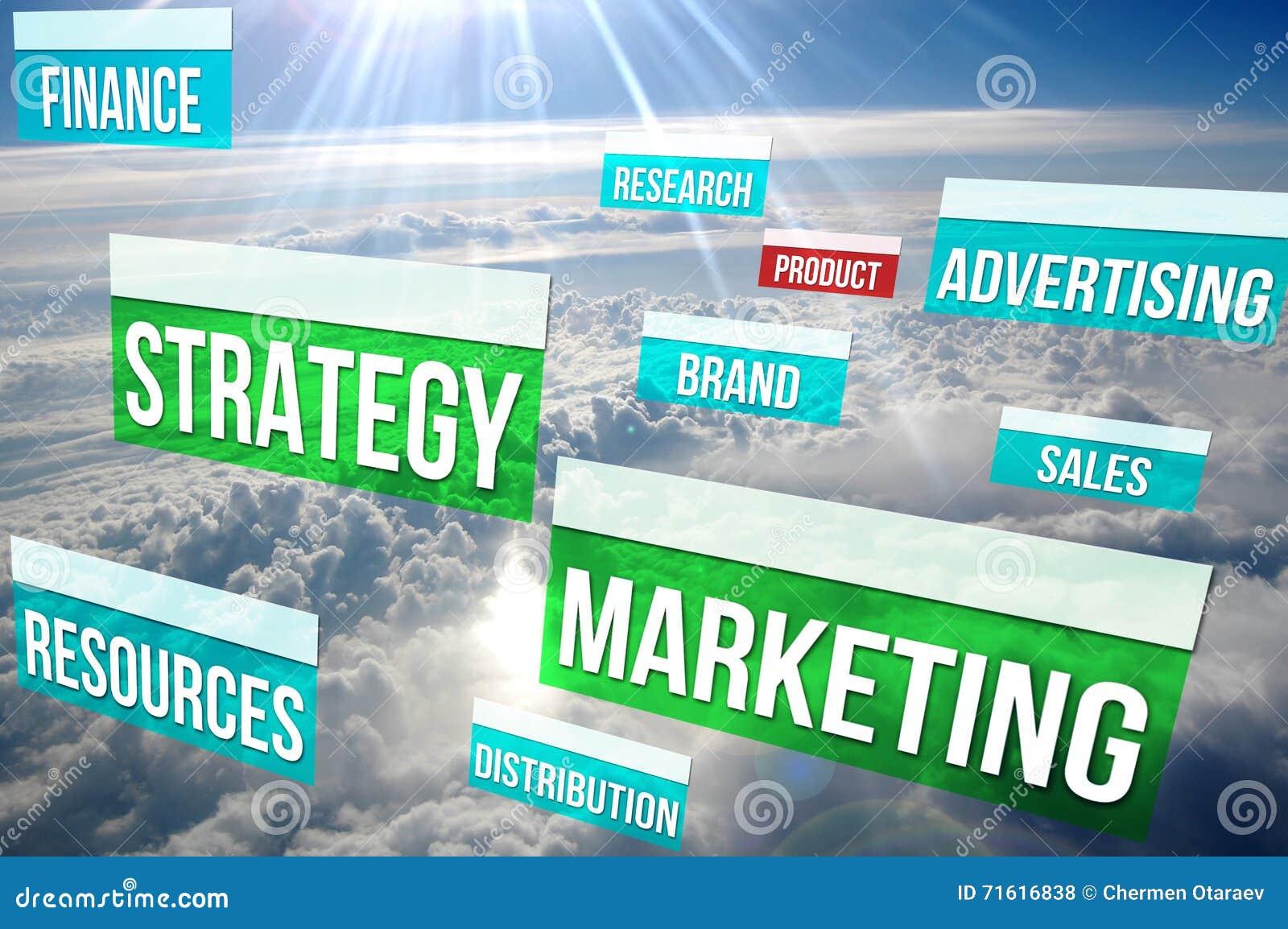 Содержимая маркетинговая стратегия над облаками