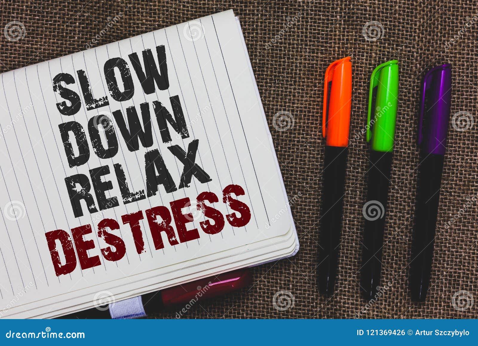 Спад показа знака текста ослабляет Destress Схематический утихомиривать фото приносит счастье и положил вас в страницу j тетради