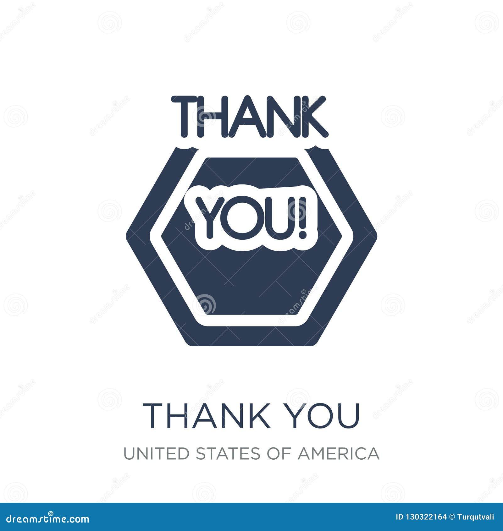 спасибо значок Ультрамодный плоский вектор благодарит вас значок на белом backg